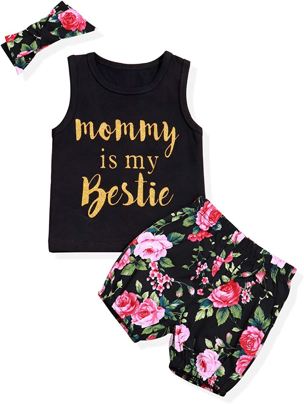 Infant Baby Girl Clothes Mommy is My Bestie Black Sleeveless Vest Tops Floral Short Pants and Headband Summer Outfit Set