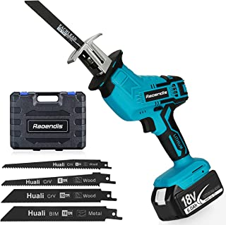 Raoendis 18V MAX Cordless One-handed Reciprocating Saw, 6.0Ah Li-ion Battery, 4 Saw Blades for Wood/Metal/PVC Pipe Cuttin...
