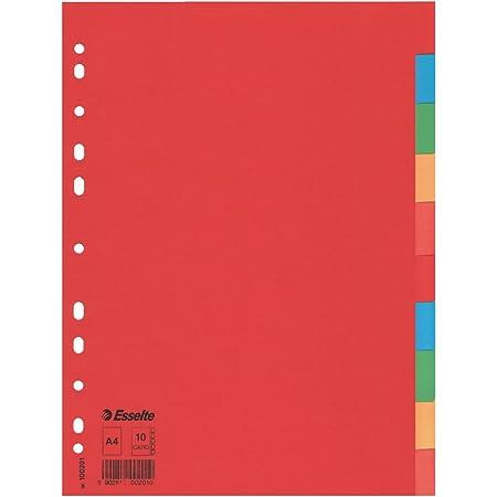 Esselte Intercalaires A4 10 Touches, Rouge/Multicolore, Carton Recyclé, 100201
