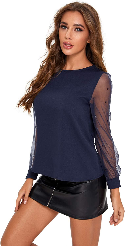 Floerns Womens Pearl Beading Sheer Mesh Sleeve Blouse Tops