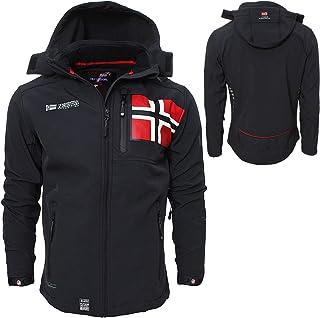 X-Large Geographical Norway Bans Production Veste Softshell pour homme avec capuche amovible Rouge