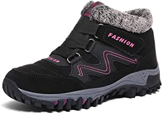 Qiucdzi المرأة الشتاء الثلوج الأحذية دافئة الفراء مبطنة المضادة للانزلاق الكاحل أحذية المشي في الهواء الطلق أحذية الرحلات.