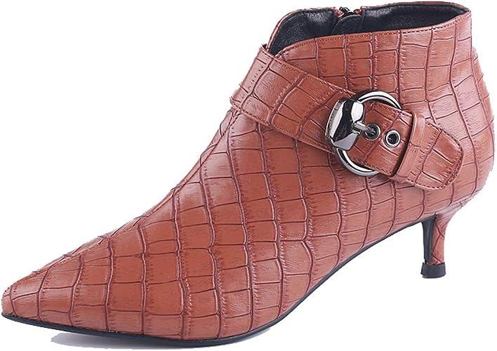 SFSYDDY-Tête Pointue Bien Peu De Bottes Chaussures à Talon des Boucles De Ceinture Sexy Serpent Milieu Talon Mahomme Dingxue.