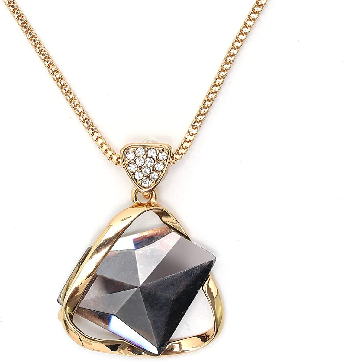 Merdia Long Chain Necklace for Women Sweater Necklace Triangle Pendant Elegant Jewelry Accessories Dressy Collocation Evening Party Wedding