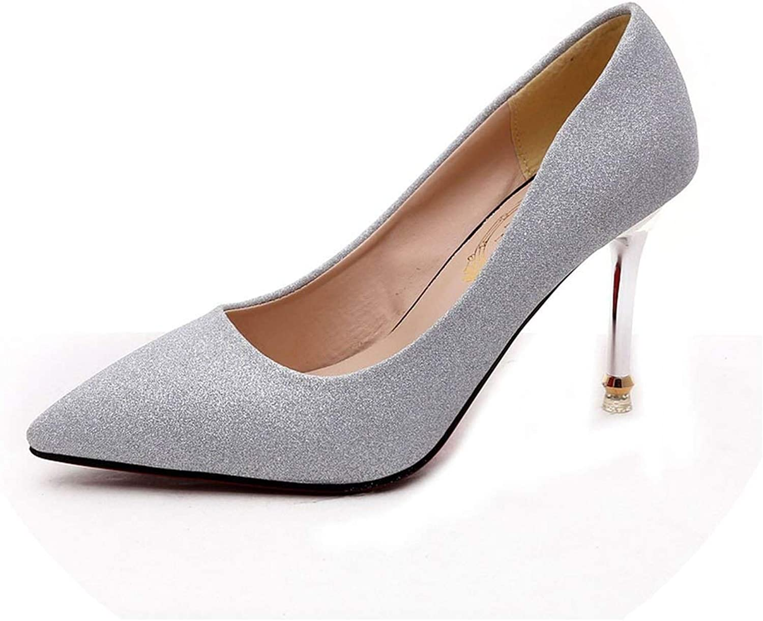 Women shoes Fashion Pointed Toe Pumps Patent Leather High Heels,Silver,4.5