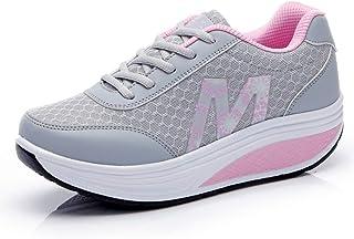 Zapatillas de Deporte para Mujer Plataforma Cuña Zapatos Deportivos Transpirables para Adelgazar Fitness Lace Up Casual En...