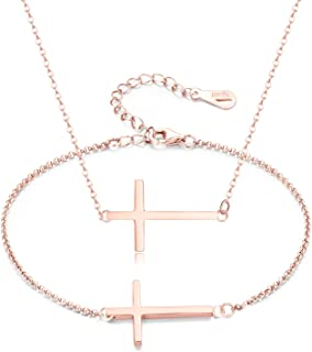 Sideway Cross Necklace Bracelet Set 18K Gold Plated Hypoallergenic Stainless Steel Material for Women Girls with Gift Pack