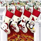 Christmas Stockings, 4 Pack 18.5' Large Size Xmas Stockings Decorations,Santa Snowman Bear Penguin Xmas Character Fireplace Hanging Stockings Decorations for Family Holiday Season Decor