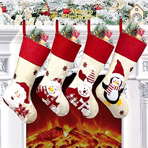 Nikolausstrumpf 4er Set, Nikolausstiefel zum Befüllen 48 x 22cm, großer Weihnachtsstrumpf, Weihnachtssocke Weihnachtsdeko zum Aufhängen für Wand, Kamin, Treppe, Weihnachtsbaum, Zuhause