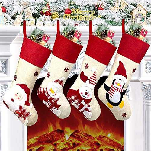 Christmas Stockings, 4 Pack 18.5' Large Size Xmas Stockings Decorations,Santa Snowman Bear Penguin Xmas Character Fireplace Hanging Stockings Decorations for Family Holiday Season Decor