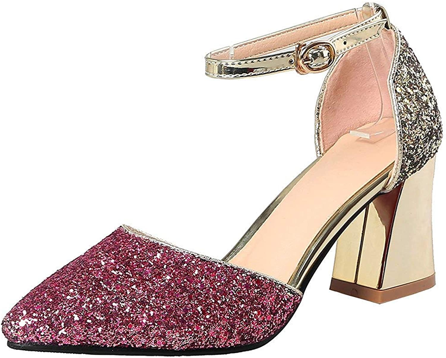 Lelehwhge Women's Fashion Sequins Ankle Strap Sandals - Glitter Pointed Toe Cut Out - Buckle Block Medium Heels Bridal shoes Silver 4.5 M US