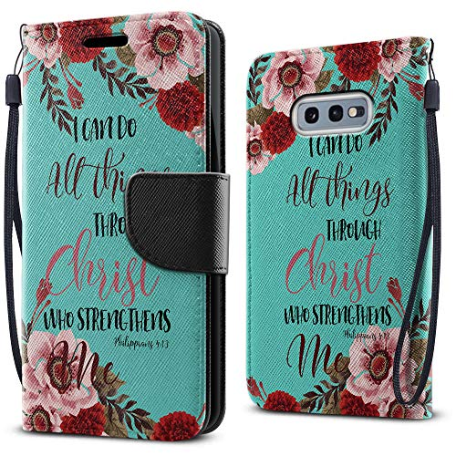 FINCIBO Case Compatible with Samsung Galaxy S10E 5.8 inch, Fashionable Flap Wallet Pouch Cover Case + Card Holder Kickstand for Galaxy S10E (NOT FIT S10) - Christian Bible Verses Philippians 4:13