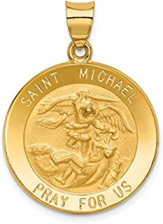 14k Yellow Gold Saint Michael Medal Pendant Charm Necklace Religious Patron St Fine Mothers Day Jewelry For Women Gifts For Her