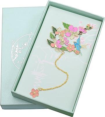 Toirxarn Metal Bookmark Flower-Themed, Gift for Reader Women/Men/Girls/Friends/Teachers. Anyone Birthday Present.(Golden Pendant Peach Blossom)