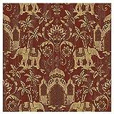Blooming Wall Papier peint Motif château d'éléphant Bananiers Rouge/doré