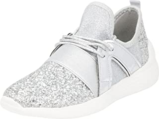 Cambridge Select Women's Low Top Lightweight Stretch Glitter Lace-Up Casual Sport Fashion Sneaker