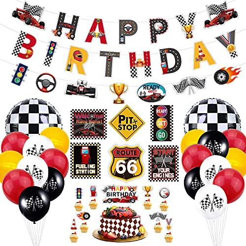 Rennwagen-Geburtstagsparty-Dekorationen - Rennsport-Geburtstagsbanner, Zielflaggenballons, Verkehrszeichenausschnitte und Kuchendeckel für Kinderjungen Let's Go Racing-Partyzubehör