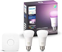 Philips Hue White and Color Ambiance A19 60W Equivalent LED Smart Light Bulb Starter Kit, 2 A19 Bulbs and 1 Bridge