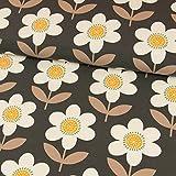Stoffe Werning Baumwolljersey große Blumen Retrolook