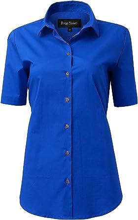 Camisa Mujer de Ceremonia Elástica, Manga Corta Color Liso ...