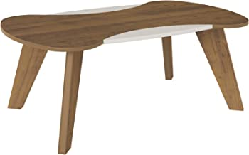 Artely Nicole Coffee Table, Pine Brown with Off White - W 91 cm x D 54 cm x H 38 cm