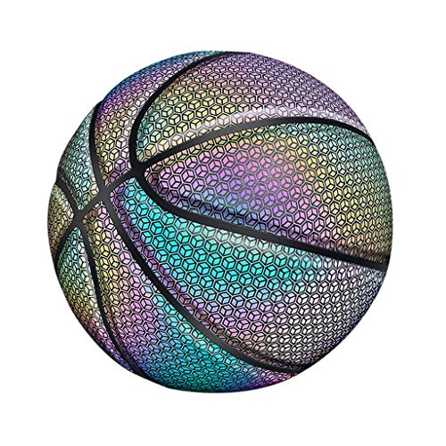Best Price Chezaa Holographic Glowing Reflective Basketball Light Up Basketballs Set Official Size 7...