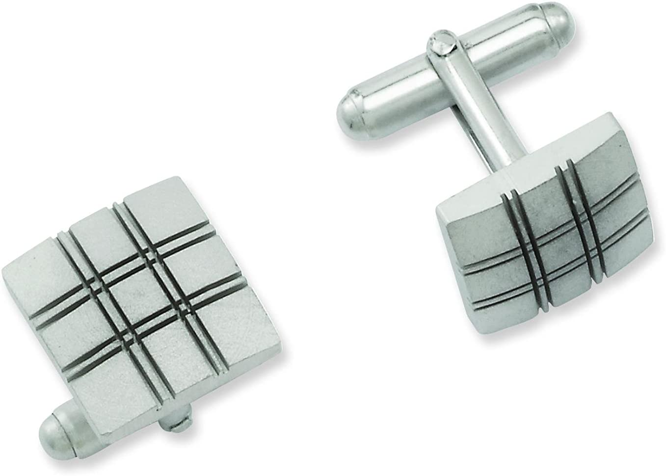 FindingKing Rhodium Plated Square Cuff Links