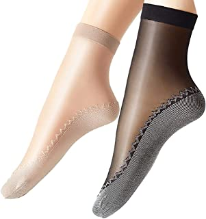 Ueither Women's 12 Pairs Silky Anti-Slip Cotton Sole Sheer Ankle High Tights Hosiery Socks Reinforced Toe