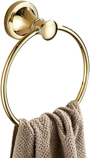 Big Big Home Round Towel Ring Polished Gold Finish Concealed Screws Wall Mounted Towel Hanger For Bathroom Kitchen Hotels Simple And Fashion Design Rack