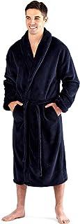 Harvey James Mens Soft Warm Thick 300g Luxury Fleece Dressing Gown Robe Plain Navy Blue or Black Size M L XL XXL