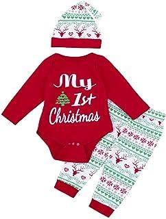 cfbbfb6b492b7 Fulltime Noël Nouveau-né bébé garçon Fille Tops + Pantalons Christmas Home  Tenues Pyjamas Ensemble