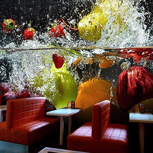 Papel Tapiz Fotográfico 3D Fruta Mural Grande Café Jugo Tienda De Bebidas Restaurante Sala De Estar Fondo Papeles De Pared Decoración Del Hogar 250(Ancho) X175(Alto) Cm