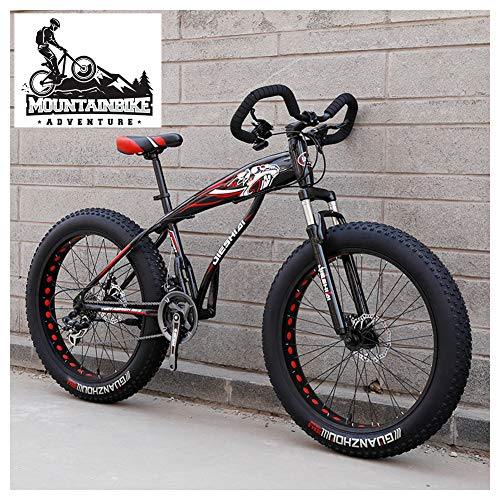NENGGE Mountain Bike Pneumatico Grasso per Adulti, Uomo Donna Bicicletta Mountain Bike con Sospensioni Anteriori, Doppia Freni a Disco Fat Bike da Montagna, Unisex,New Red,26 inch 27 Speed