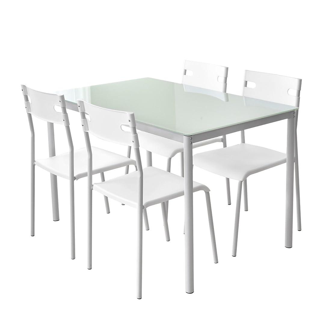 外観許す遷移DORIS ダイニングテーブル 5点セット ガラス 幅120 スタッキング 組立式 ホワイト ゼータ