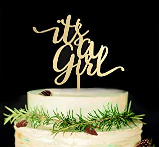 It's A Girl Cake Topper, Baby Shower or Gender Reveal Party Decorations (Gold)