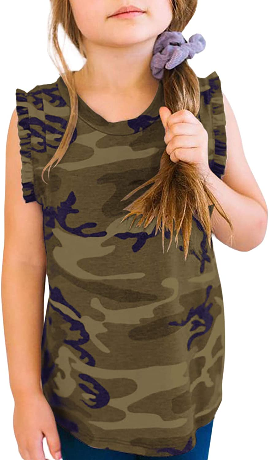 5 ☆ popular Sidefeel Girls Spring new work one after another Cute Camouflage Print Ballet D Sleeveless T-Shirt