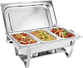 9L Chauffe-plat professionnel en acier inoxydable pour buffet et fêtes 55,7 x 34 x 38,3 cm