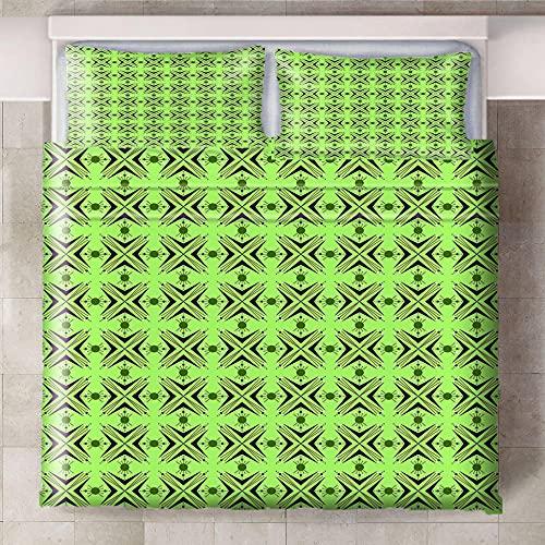 Teqoasiy - Duvet Cover - 3D Grönt Abstrakt Kreativt 240x220cm Mikrofiber Duntäcke - Med 2 Örngott - Sovrum Dekorativ Säng - Mycket Mjuk - Med Dragkedja - Polyester Sängkläder