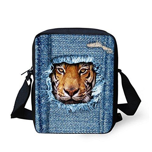 HUGS IDEA Mini-Schultertasche mit Tigergesicht, bedruckt, Denim, für Damen und Herren, Crossbody-Tasche, klein, legere Handtaschen