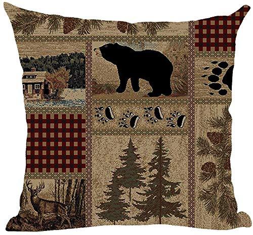 Mesllings - Federa decorativa per cuscino, stile retrò, con impronte di cervo, orso di cervo, foresta, pino, noci, campo, autunno, autunno, decorativa, per casa, soggiorno, letto, divano, auto, in cotone e lino, quadrata, 45,7 x 45,7 cm