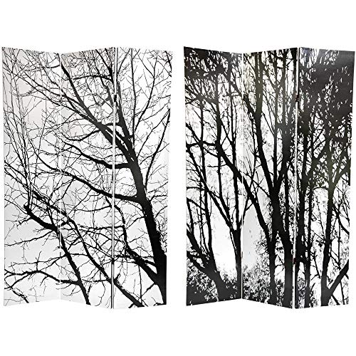Oriental Furniture Simple Beautiful Large Black and White Photo, 6-Feet Winter Trees Huge Size Photograph 3 Panel Room Divider Floor Screen