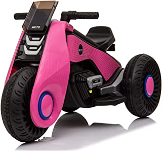 VALUE BOX Kids Ride on Motorcycle, 6V/4.5Ah Battery 3 Wheels Motorbike Tricycle Toys w/ Led Lights, MP3 Player, Forward/Stop/Backward Button, Power and Pedal Switch for Children Boys & Girls, Pink