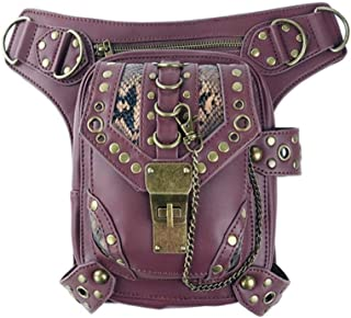 AMAZACER PU Leather Steampunk Waist Bags Gothic Personalized Bag Men and Women Hiking Fanny Pack Mini Travel Pockets Black (Color : Reddish Brown)