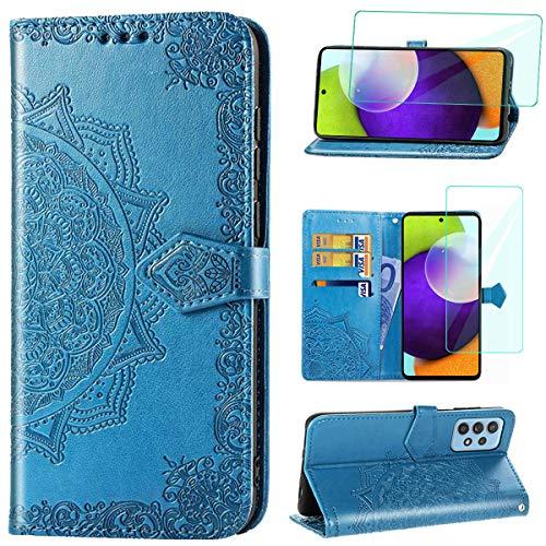 Yohii Funda para Samsung Galaxy A52 4G/5G + Cristal Templado, Libro Caso Piel PU Soporte Plegable Ranuras Cartera con Tapa Tarjetas Magnético Cuero Flip Carcasas, Case para Samsung Galaxy A52 - Azul