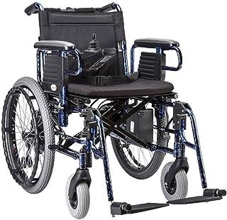 RDJM De Peso Ligero Plegable sillas de Ruedas eléctrica Portátil de Silla de Ruedas eléctrica de Primera Calidad, con Li-Ion 20Ah Motor Dual Silla de Ruedas eléctrica, Soporte 330lb