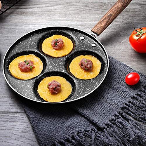 EDCV Koekenpan Keuken Aluminium Koken Camping Ontbijt BBQ Multifunctioneel Non Stick 4 Gaten Restaurant Bakken Omelet Koekenpan
