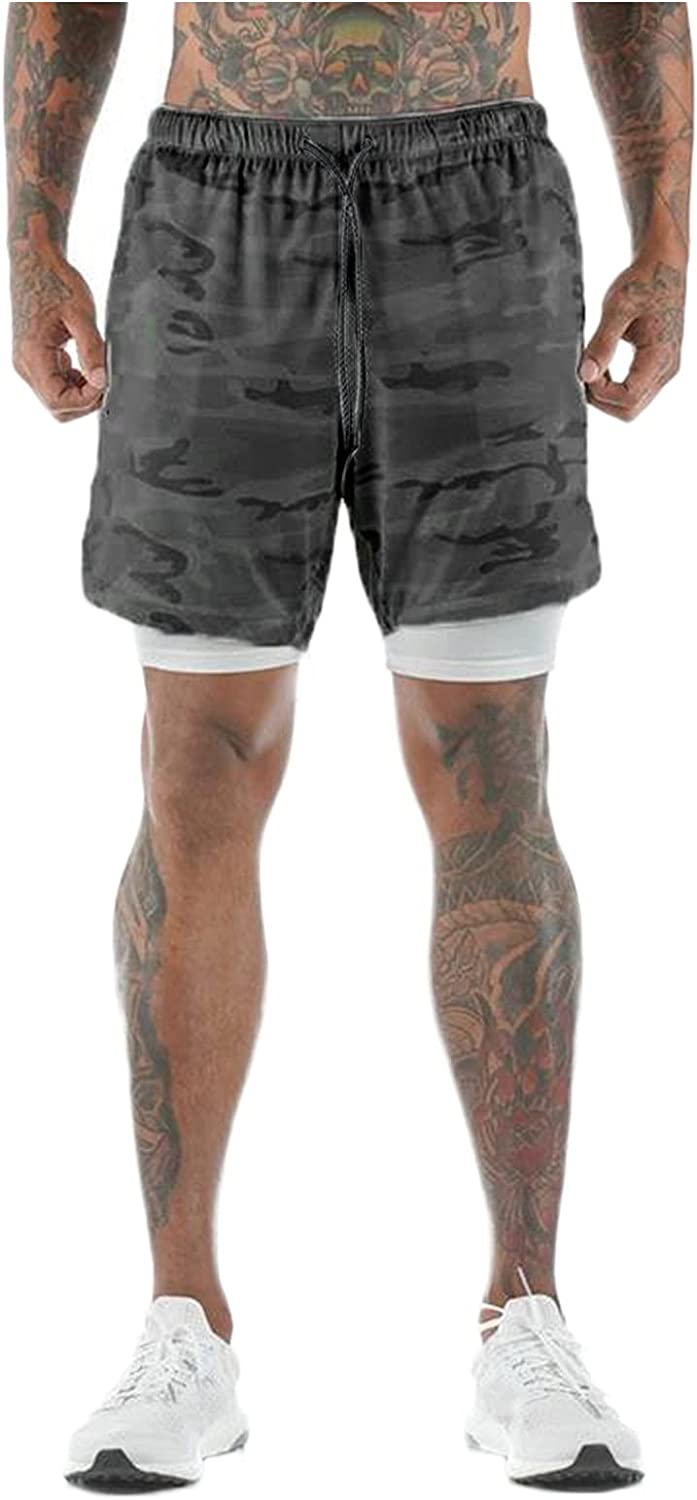 CHENQ 2021 Men's Sports Camouflage Outdoor Multi-Pocket Double-Layer Shorts Fitness Pants