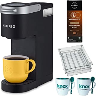 Keurig K-Mini Single Serve K-Cup Pod Coffee Maker (Black) Bundle with Coffee Pods, Mugs & Spoons, Coffee Maker Stand and Caddy (4 Items)