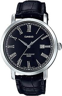 ساعة كوارتز للرجال من كاسيو بعقارب وسوار جلدي Mtp-E149L-1Bvdf، سوار اسود