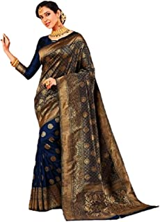 Blue Indian Soft Woven Silk Zari Wedding Occasion Budhist Saree ムスリムサリブラウス YK